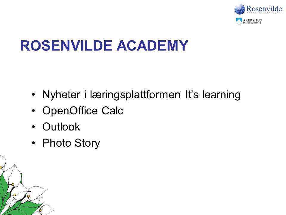 ROSENVILDE ACADEMY Nyheter i læringsplattformen It's learning