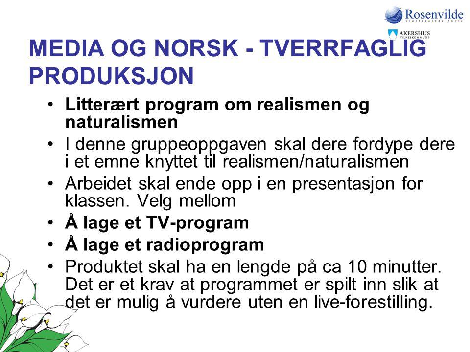 MEDIA OG NORSK - TVERRFAGLIG PRODUKSJON