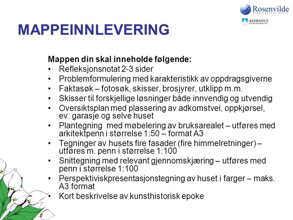 MAPPEINNLEVERING Mappen din skal inneholde følgende: