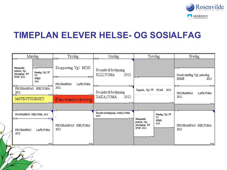 TIMEPLAN ELEVER HELSE- OG SOSIALFAG