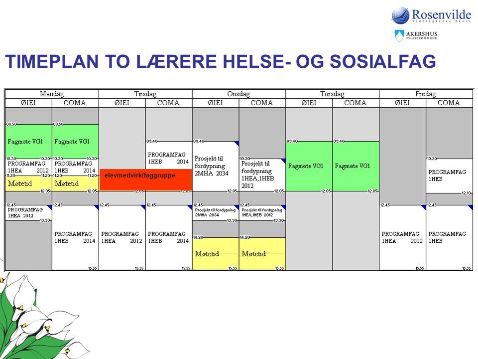 TIMEPLAN TO LÆRERE HELSE- OG SOSIALFAG