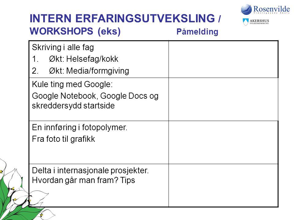 INTERN ERFARINGSUTVEKSLING / WORKSHOPS (eks) Påmelding