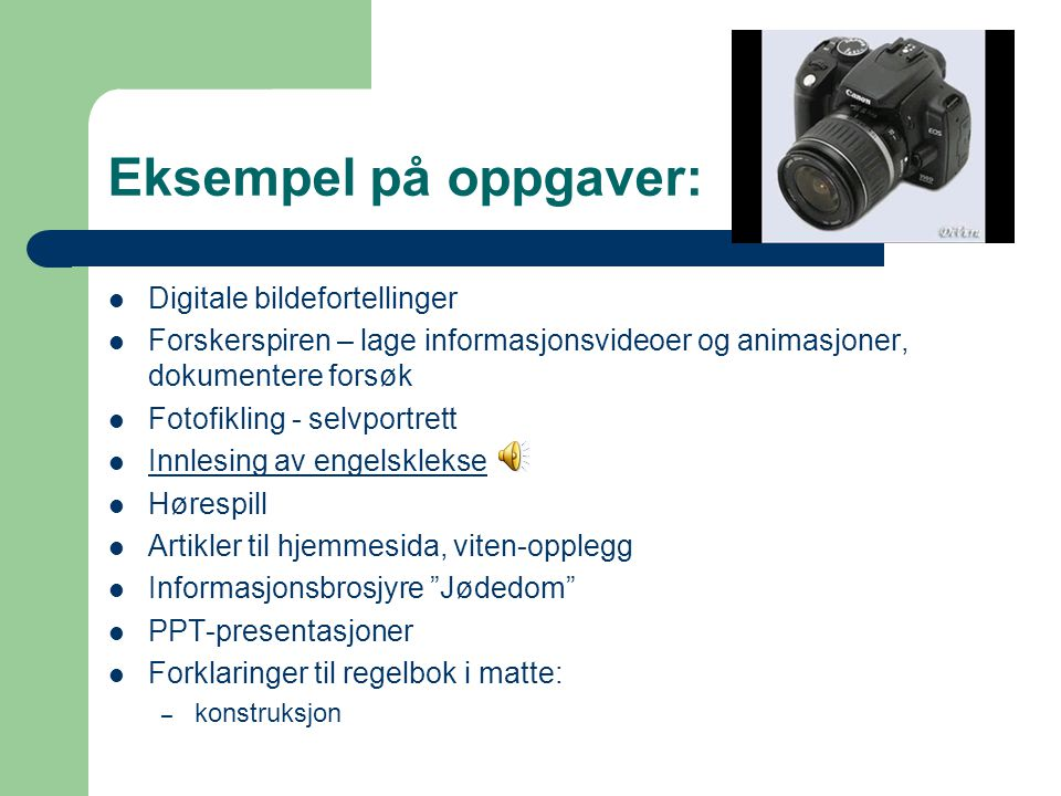 Eksempel på oppgaver: Digitale bildefortellinger