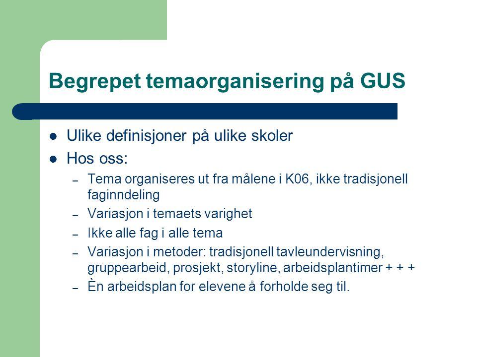 Begrepet temaorganisering på GUS