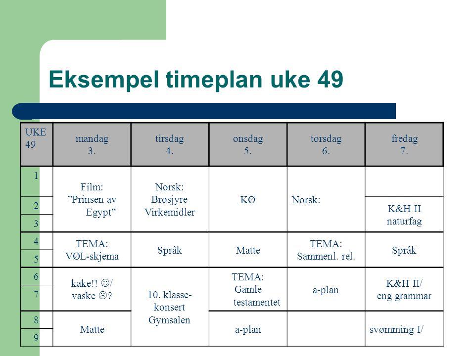 Eksempel timeplan uke 49 UKE 49 mandag 3. tirsdag 4. onsdag 5. torsdag