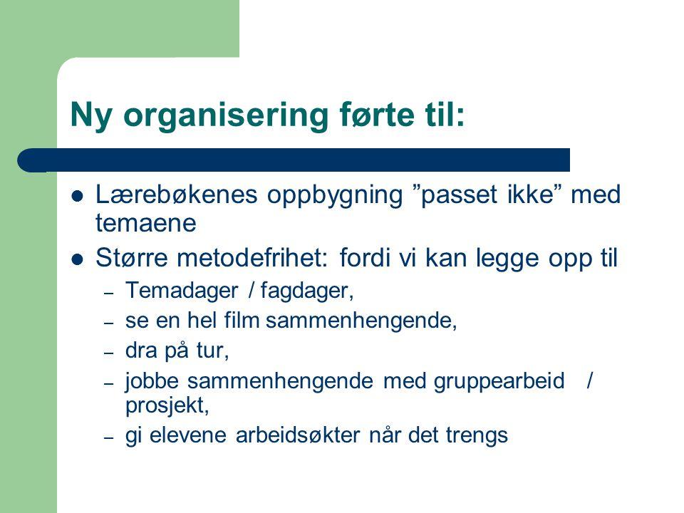 Ny organisering førte til: