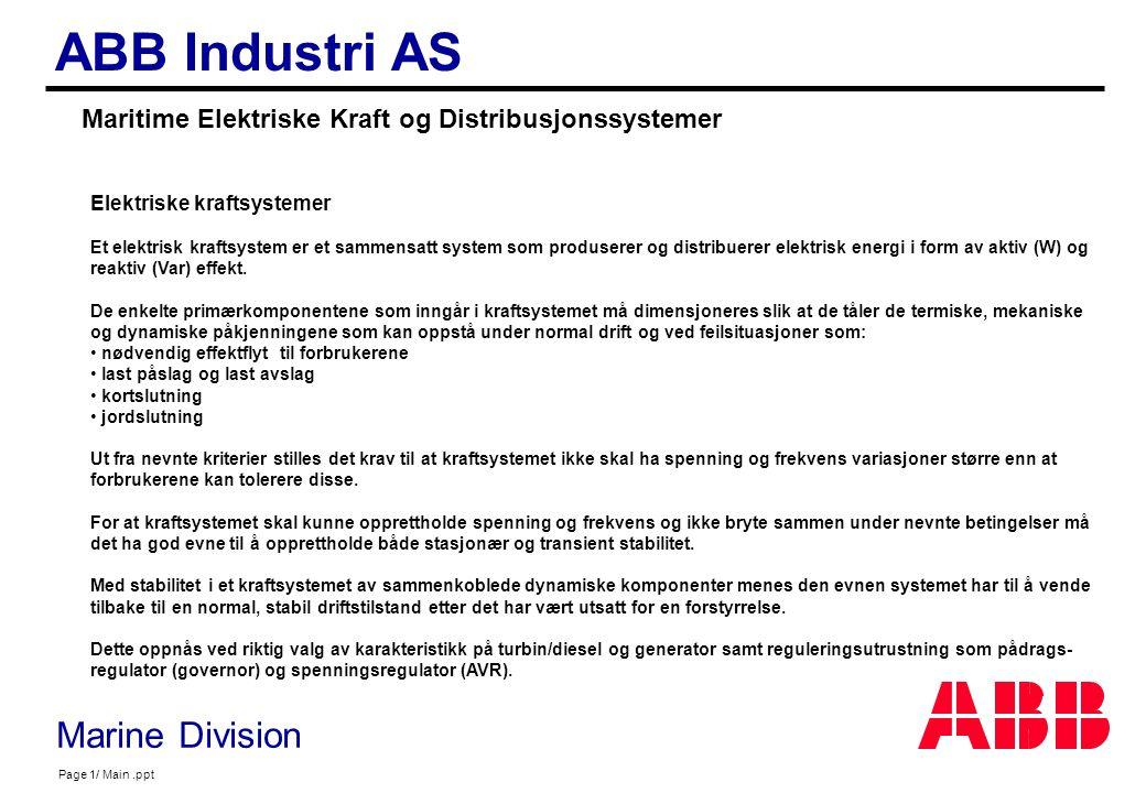 Maritime Elektriske Kraft og Distribusjonssystemer