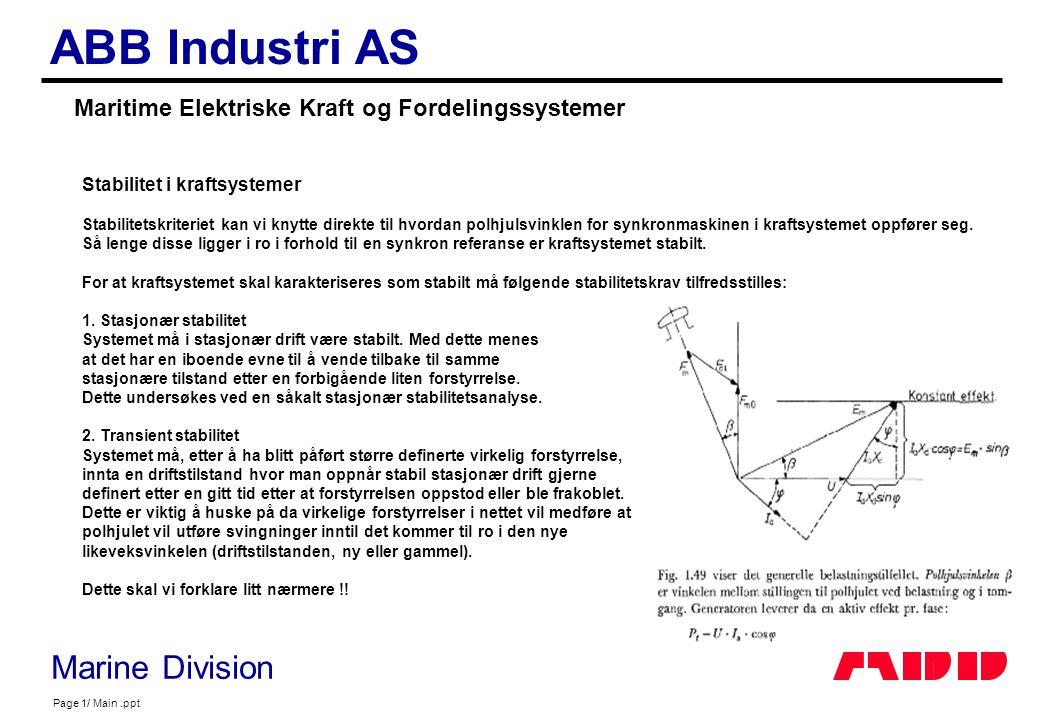 Maritime Elektriske Kraft og Fordelingssystemer