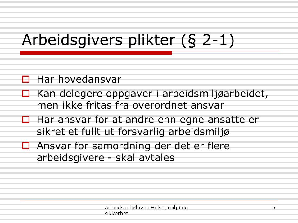 Arbeidsgivers plikter (§ 2-1)