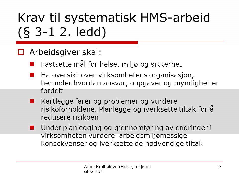Krav til systematisk HMS-arbeid (§ 3-1 2. ledd)