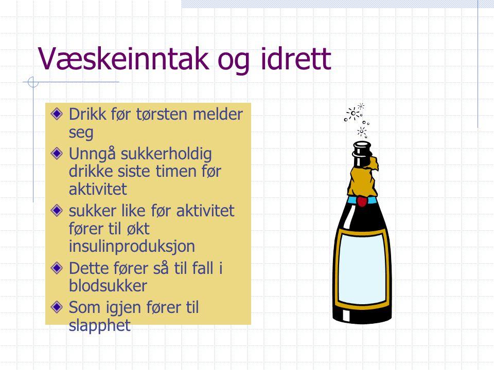Væskeinntak og idrett Drikk før tørsten melder seg