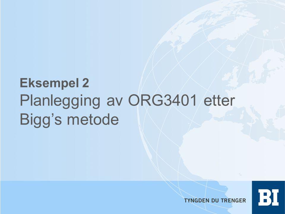 Eksempel 2 Planlegging av ORG3401 etter Bigg's metode