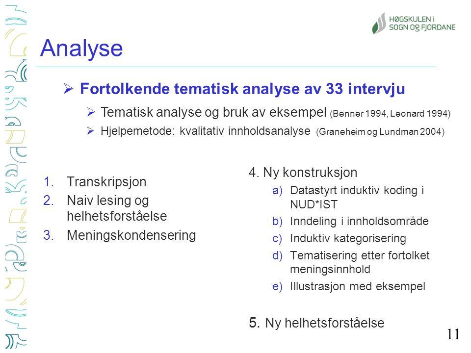 Analyse Fortolkende tematisk analyse av 33 intervju