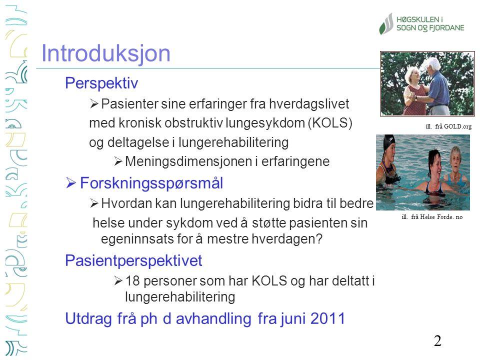 Introduksjon Perspektiv Forskningsspørsmål Pasientperspektivet