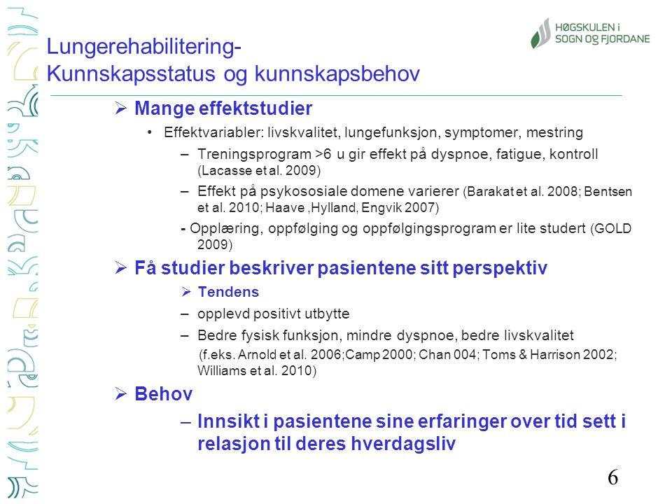 Lungerehabilitering- Kunnskapsstatus og kunnskapsbehov