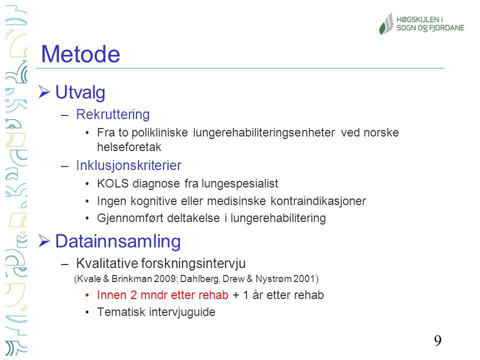 Metode Utvalg Datainnsamling Rekruttering Inklusjonskriterier