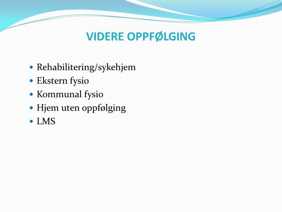 VIDERE OPPFØLGING Rehabilitering/sykehjem Ekstern fysio Kommunal fysio