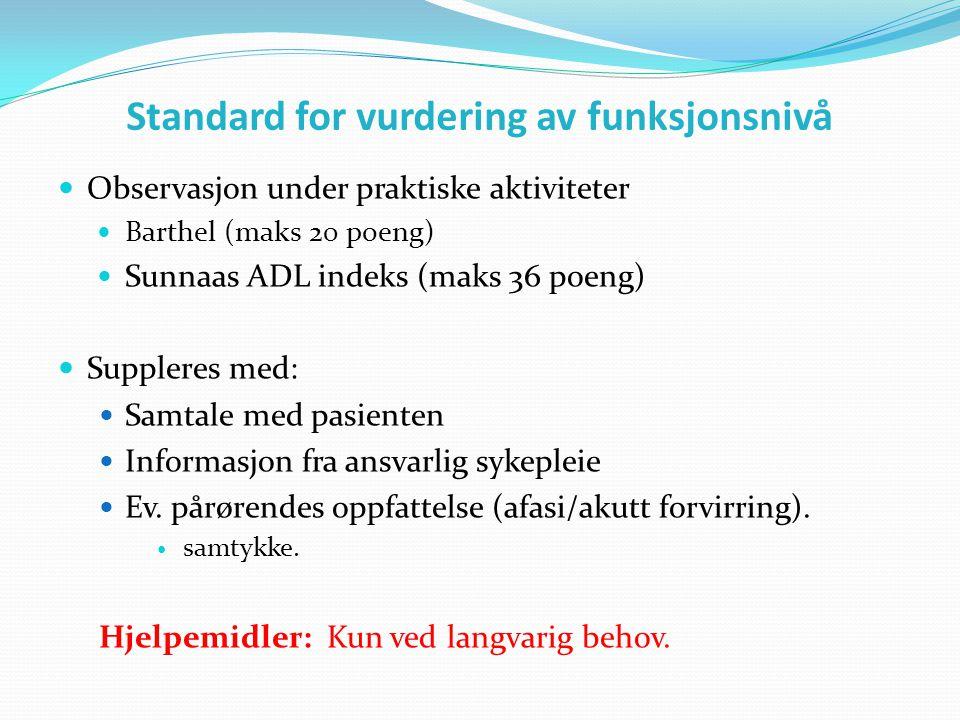 Standard for vurdering av funksjonsnivå