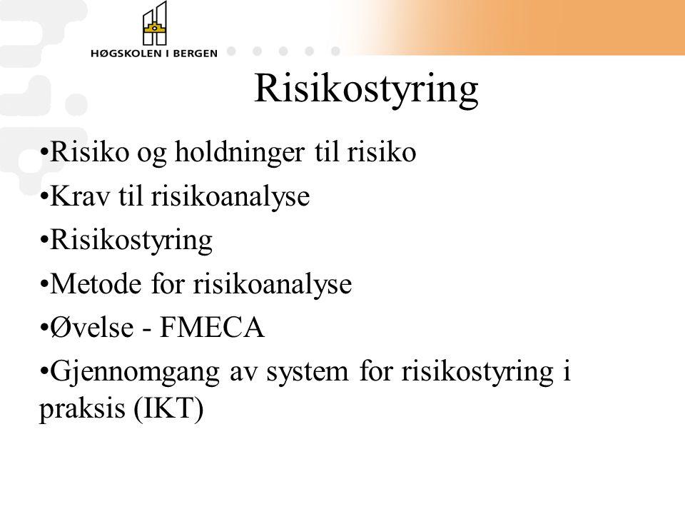 Risikostyring Risiko og holdninger til risiko Krav til risikoanalyse