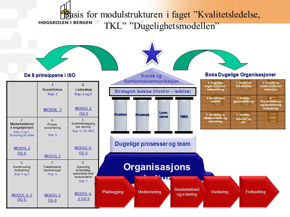 Basis for modulstrukturen i faget Kvalitetsledelse, TKL Dugelighetsmodellen