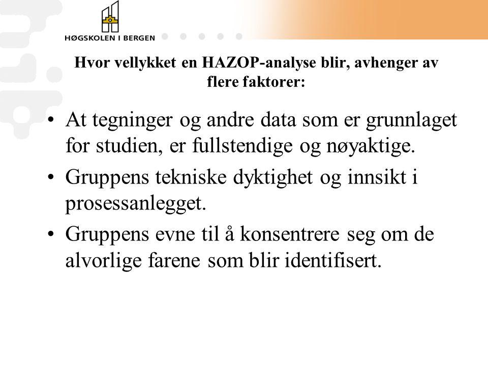 Hvor vellykket en HAZOP-analyse blir, avhenger av flere faktorer: