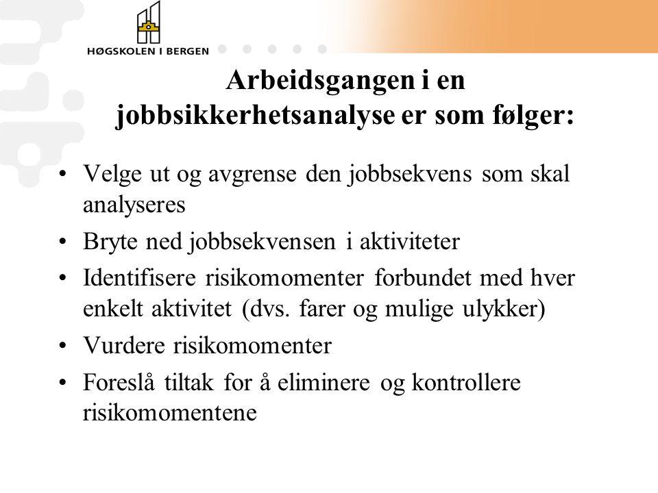 Arbeidsgangen i en jobbsikkerhetsanalyse er som følger: