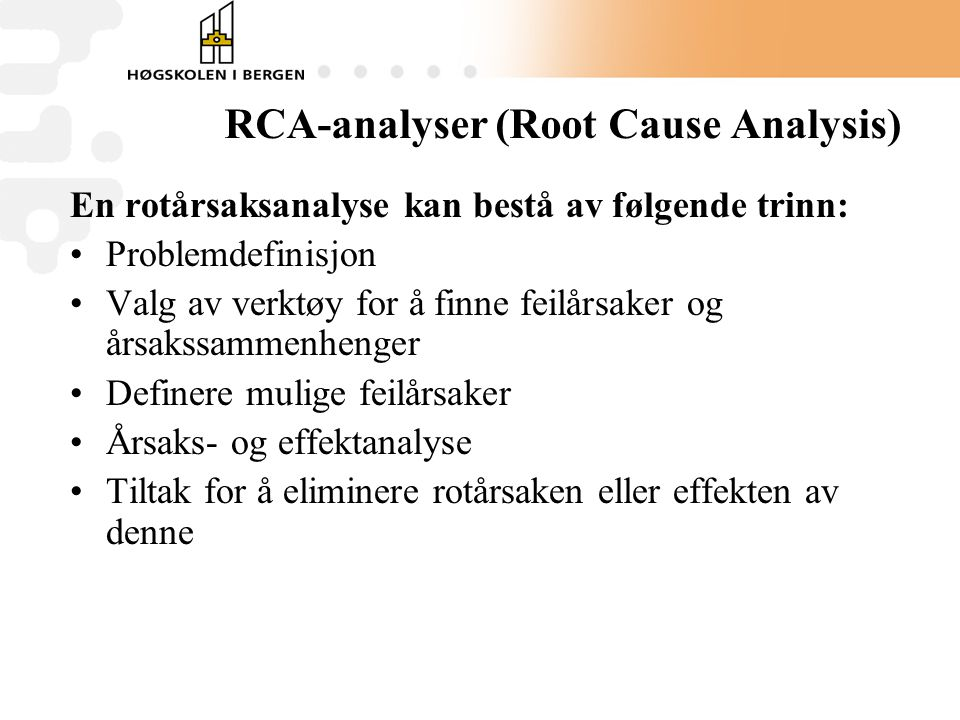RCA-analyser (Root Cause Analysis)