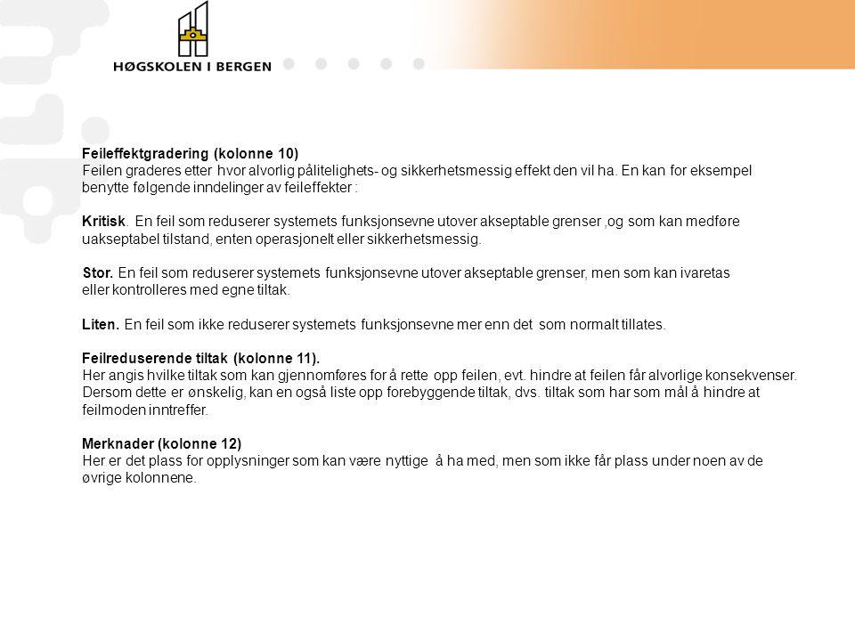 Feileffektgradering (kolonne 10)