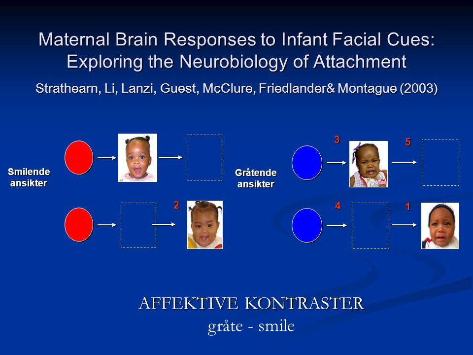 Maternal Brain Responses to Infant Facial Cues: Exploring the Neurobiology of Attachment Strathearn, Li, Lanzi, Guest, McClure, Friedlander& Montague (2003)