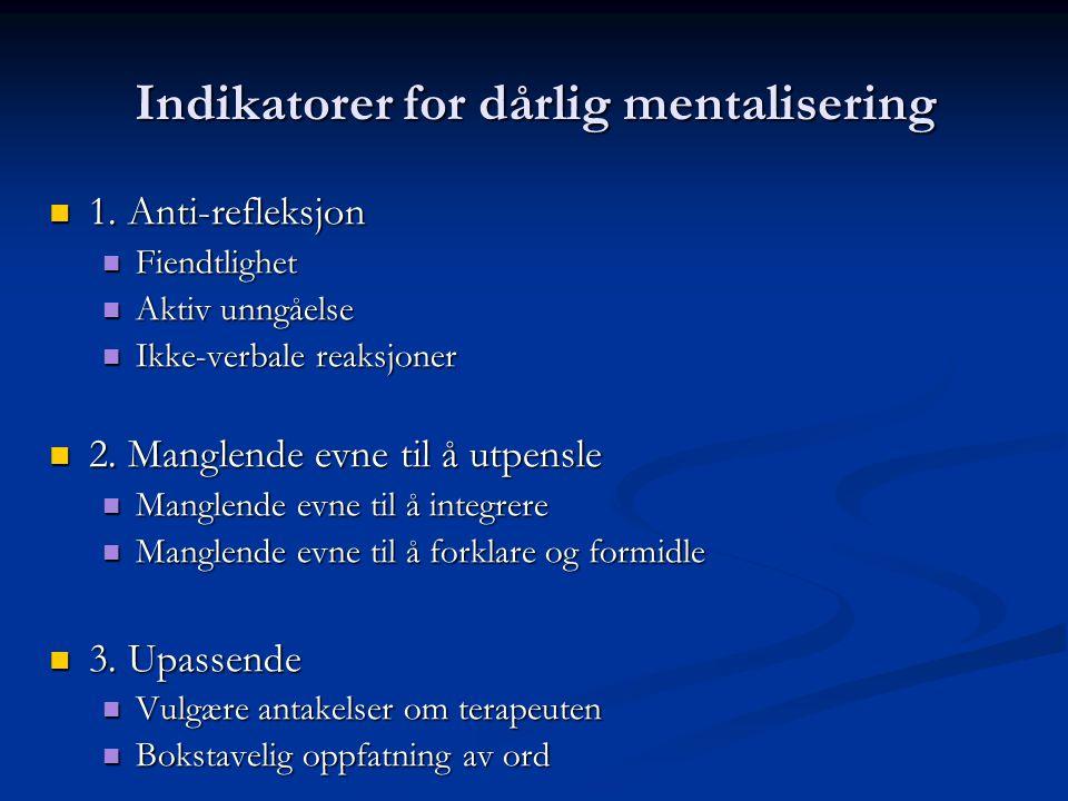 Indikatorer for dårlig mentalisering