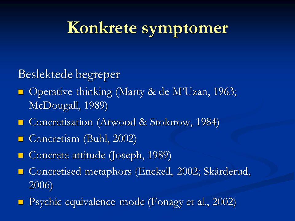 Konkrete symptomer Beslektede begreper