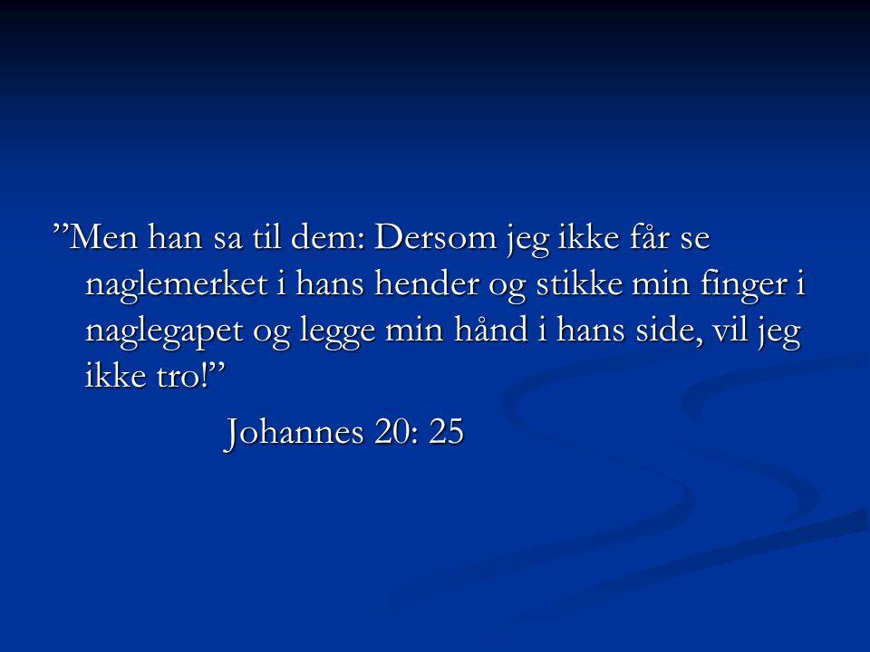 Men han sa til dem: Dersom jeg ikke får se naglemerket i hans hender og stikke min finger i naglegapet og legge min hånd i hans side, vil jeg ikke tro!