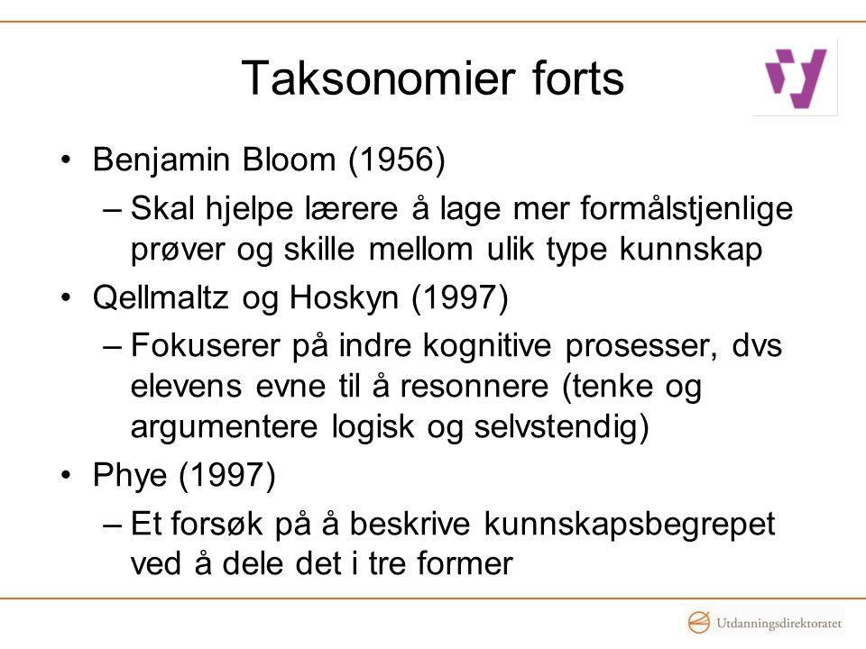Taksonomier forts Benjamin Bloom (1956)