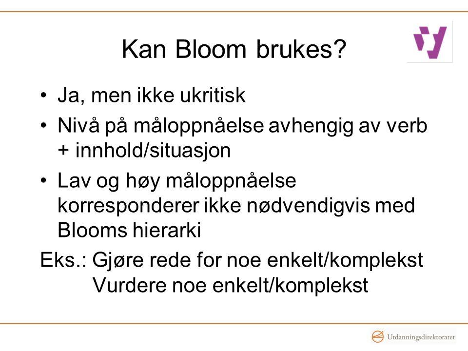 Kan Bloom brukes Ja, men ikke ukritisk