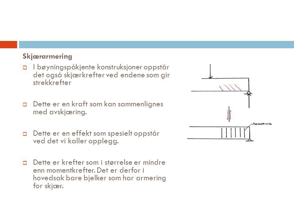 Skjærarmering I bøyningspåkjente konstruksjoner oppstår det også skjærkrefter ved endene som gir strekkrefter.