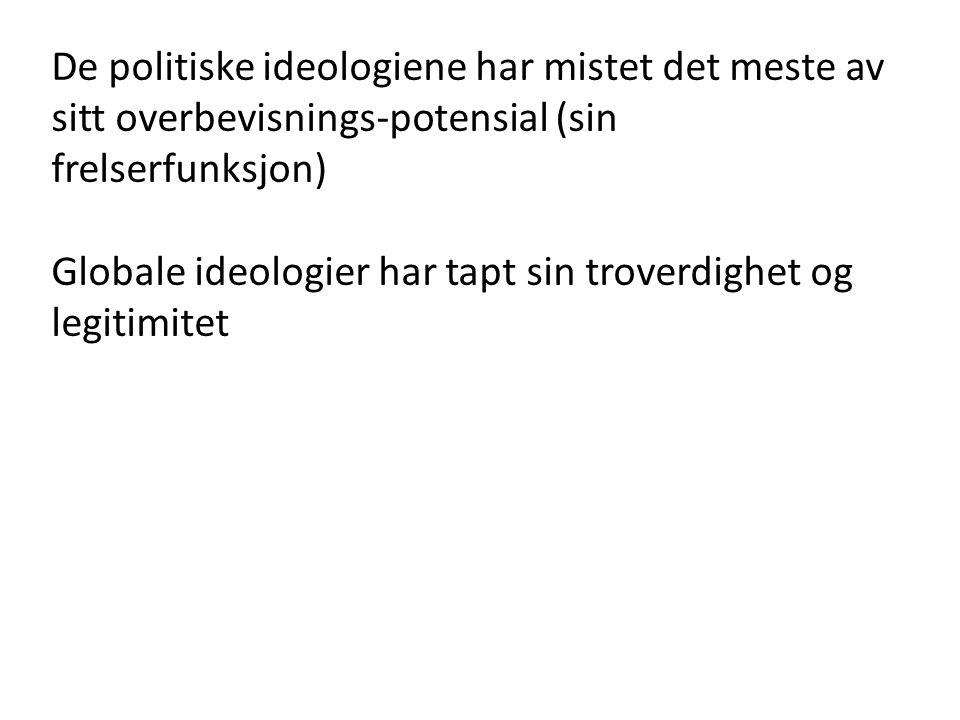 De politiske ideologiene har mistet det meste av sitt overbevisnings-potensial (sin frelserfunksjon)