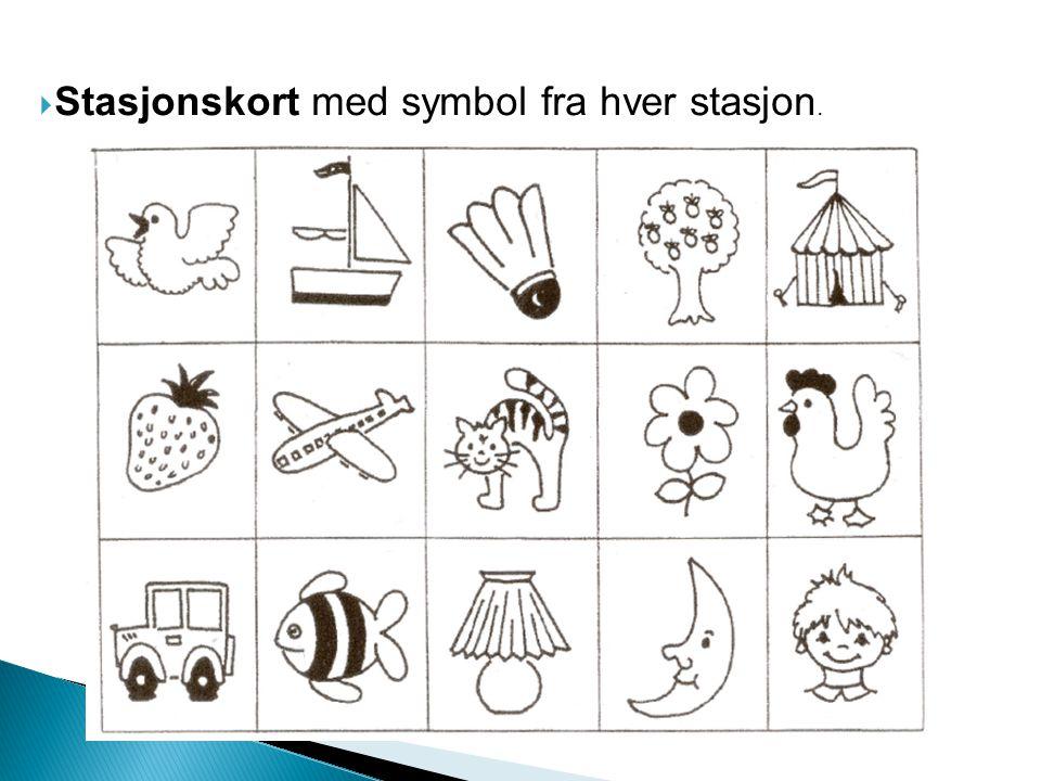 Stasjonskort med symbol fra hver stasjon.