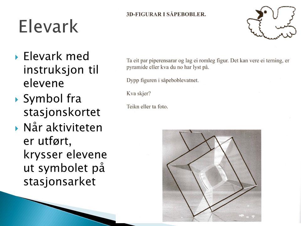 Elevark Elevark med instruksjon til elevene Symbol fra stasjonskortet