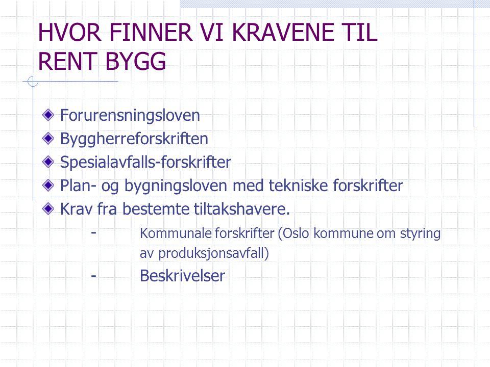HVOR FINNER VI KRAVENE TIL RENT BYGG