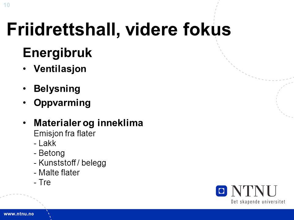 Friidrettshall, videre fokus