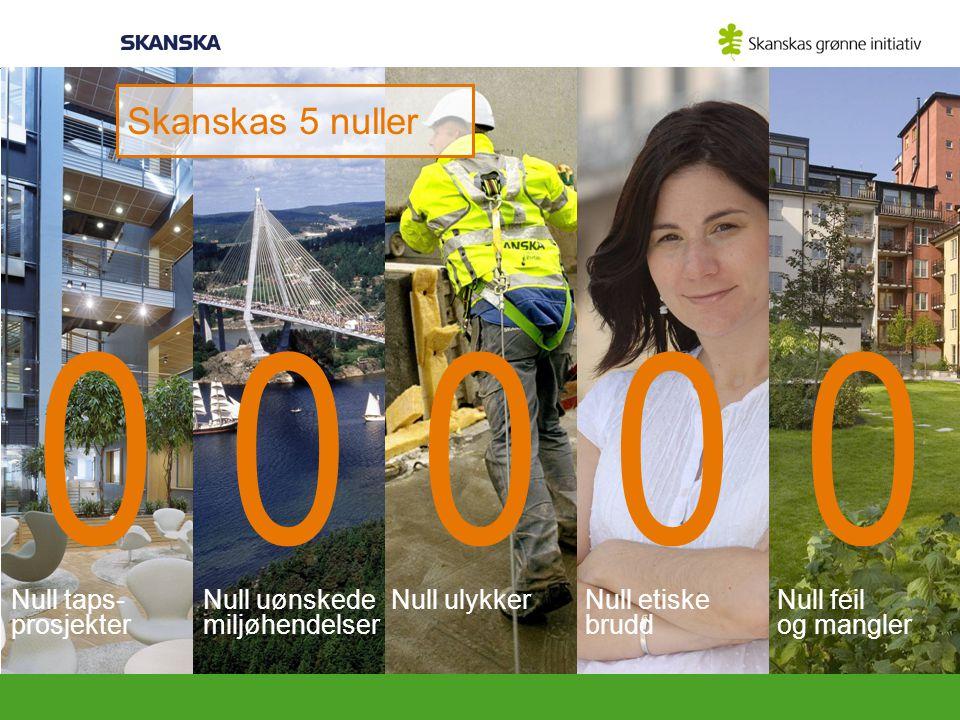 Skanskas 5 nuller Null taps- prosjekter Null uønskede miljøhendelser