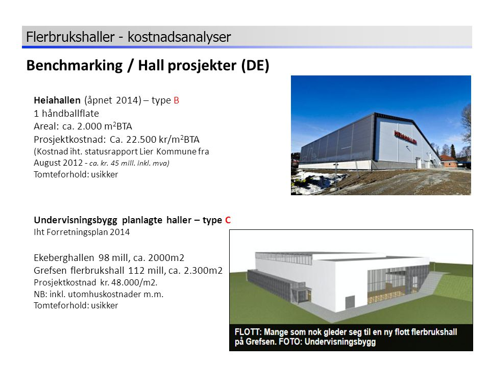 Benchmarking / Hall prosjekter (DE)