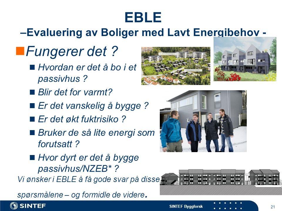 EBLE –Evaluering av Boliger med Lavt Energibehov -