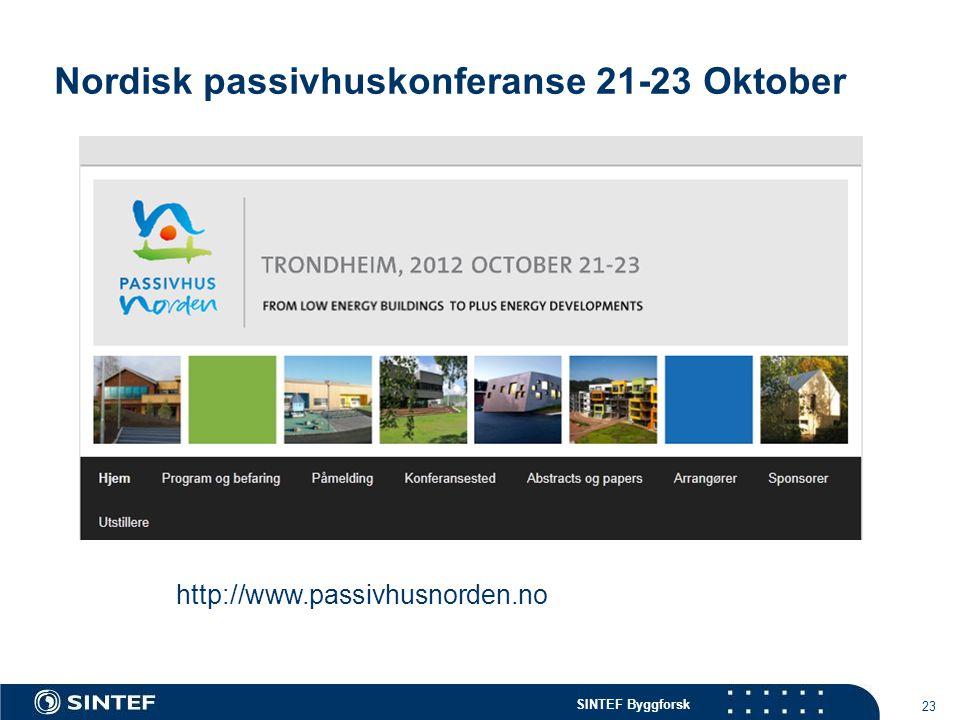 Nordisk passivhuskonferanse 21-23 Oktober