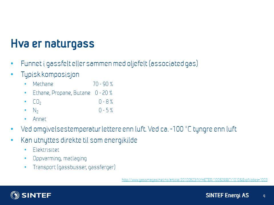 Hva er naturgass Funnet i gassfelt eller sammen med oljefelt (associated gas) Typisk komposisjon. Methane 70 - 90 %