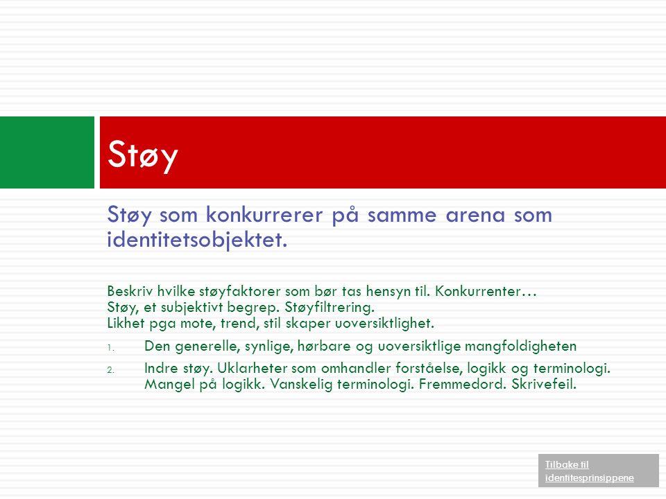 Støy Støy som konkurrerer på samme arena som identitetsobjektet.