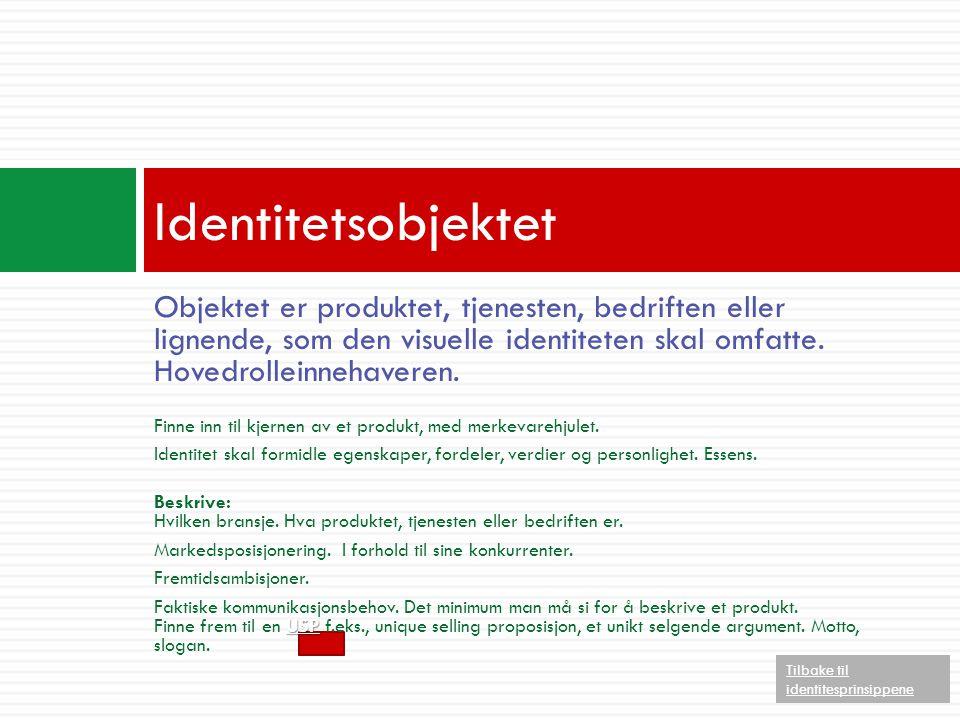 Identitetsobjektet Objektet er produktet, tjenesten, bedriften eller lignende, som den visuelle identiteten skal omfatte. Hovedrolleinnehaveren.