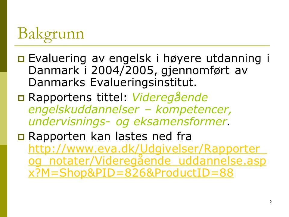 Bakgrunn Evaluering av engelsk i høyere utdanning i Danmark i 2004/2005, gjennomført av Danmarks Evalueringsinstitut.