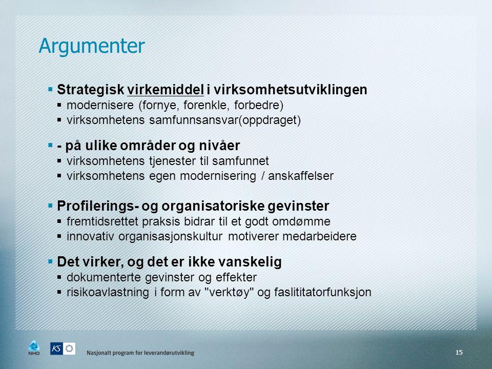 Argumenter Strategisk virkemiddel i virksomhetsutviklingen