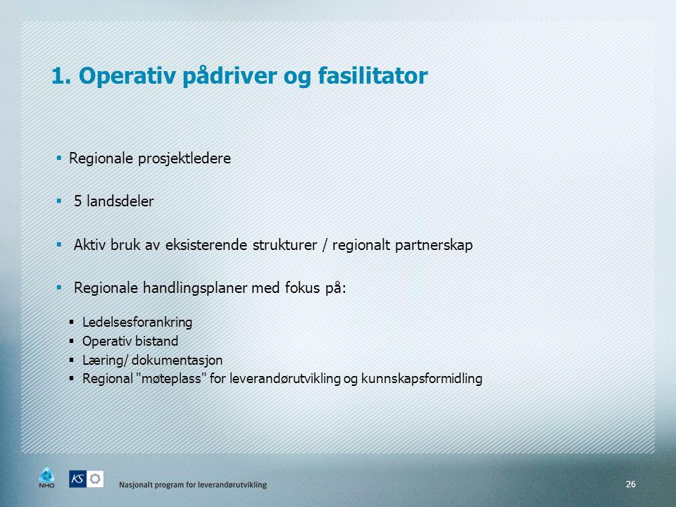 1. Operativ pådriver og fasilitator